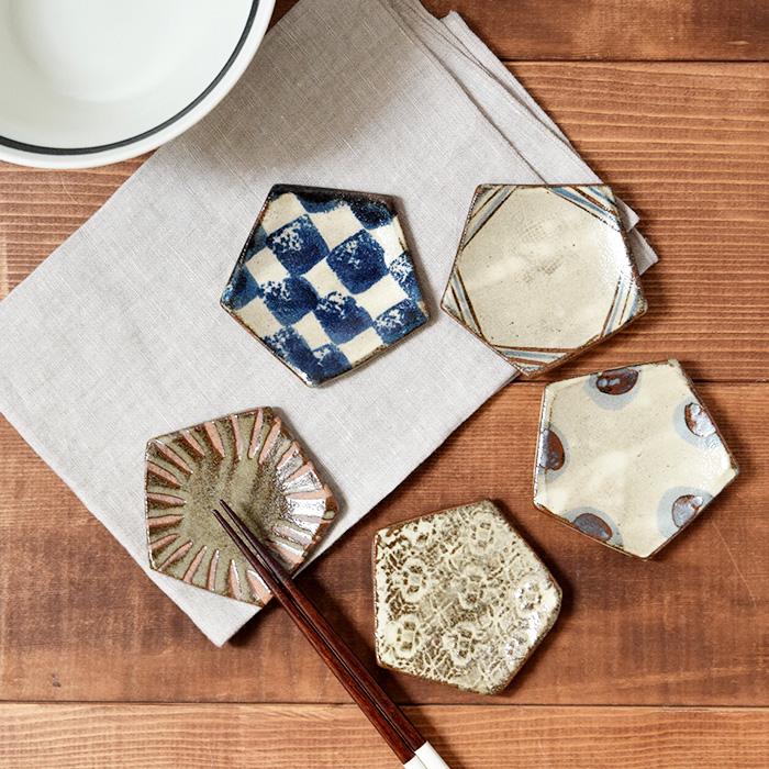 レトロで可愛い和模様 五角形の豆皿