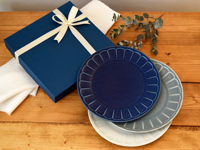 しのぎ お花のリムプレート 大皿3枚