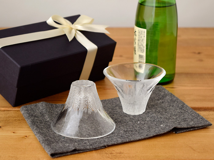 ガラス製 晩酌セット 富士山 2個 ペアギフトセット