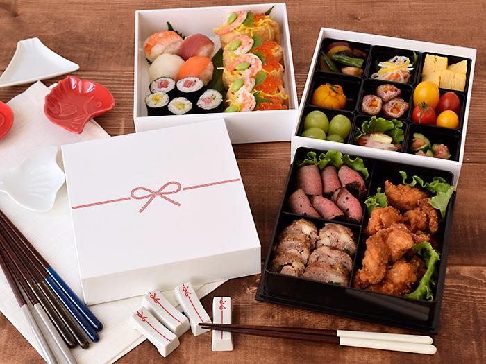 送料無料の和食器 お祝いの席やおもてなしに使える縁起の良い水引の三段重箱