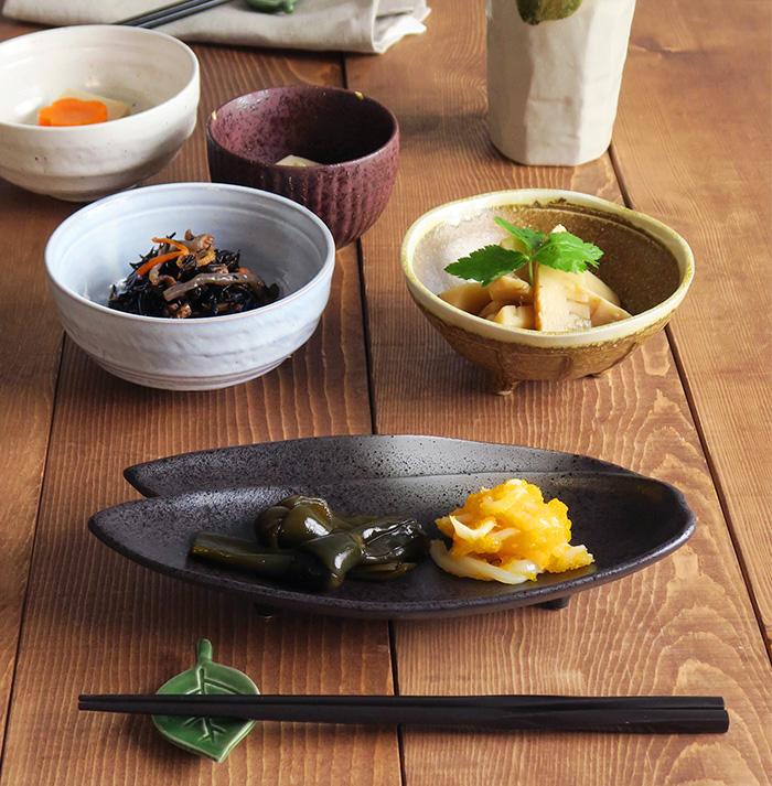 おつまみ皿 笹の葉黒