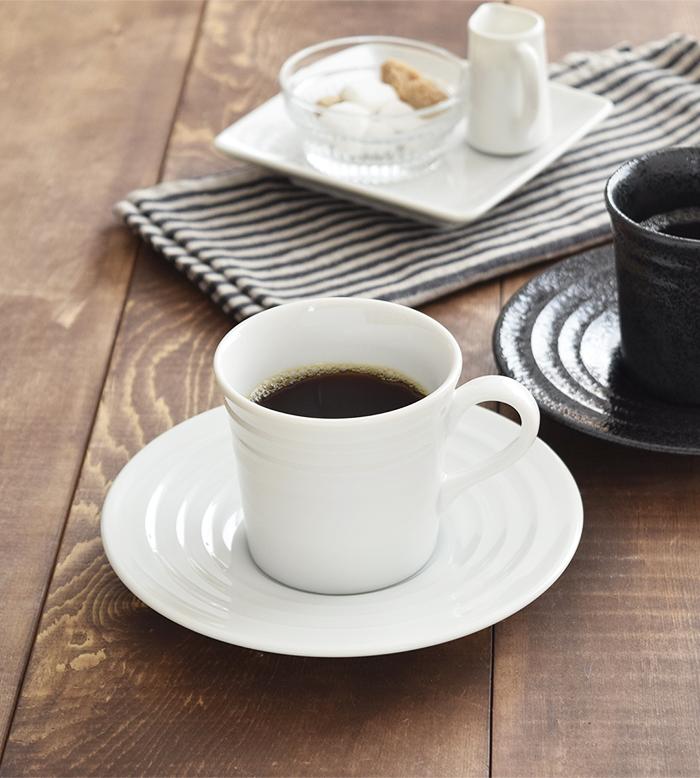 コーヒーカップ&ソーサー ボーダー ホワイト