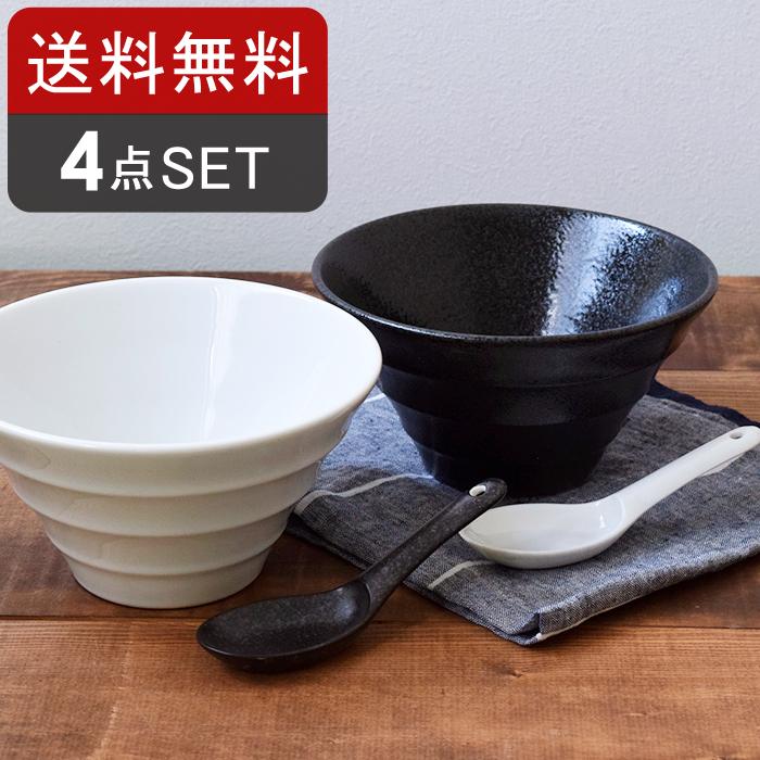 食卓コーディネートに便利な台形どんぶり+レンゲ4個セット