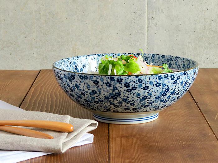 藍染小花 麺鉢 大